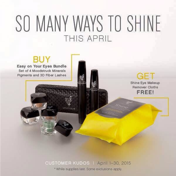 Through April this bundle will be available! With the purchase of a 3D Fiber Lash Mascara and your choice of 4 Mineral Eye Pigments Younique gives you the Shine Makeup Removing Cloths for FREE!! www.adoreyoureyes.com