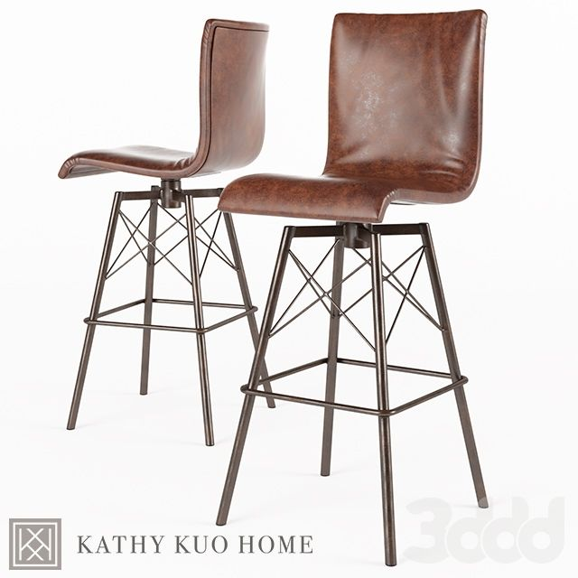 Crenshaw Loft Iron Leather Bar Stool