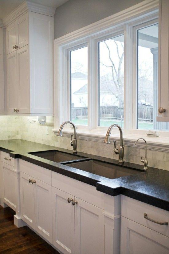 Two Sinks In Kitchen Breathtaking Chic