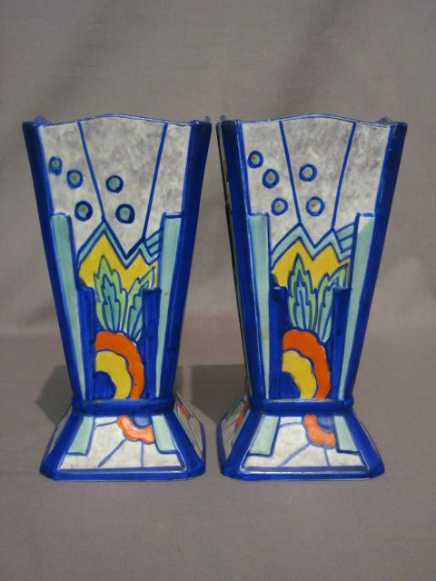 pair of square Art Deco Phoenix ware Syrian pattern pottery vases