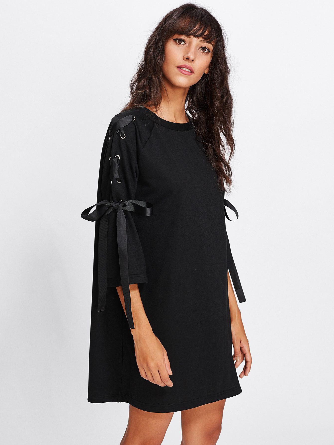 2d42c9be3044 Shop Ribbon Lace Up Raglan Sleeve Marled Tee Dress online. SheIn offers  Ribbon Lace Up