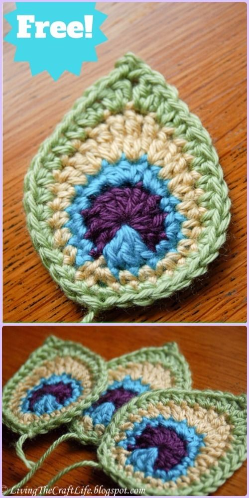 Crochet Peacock Feather Motif Patterns   Tejido gancho, Ganchillo y ...