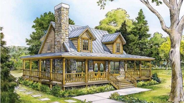 Beautiful country home w wrap around porch hq plans for Country style homes with wrap around porch