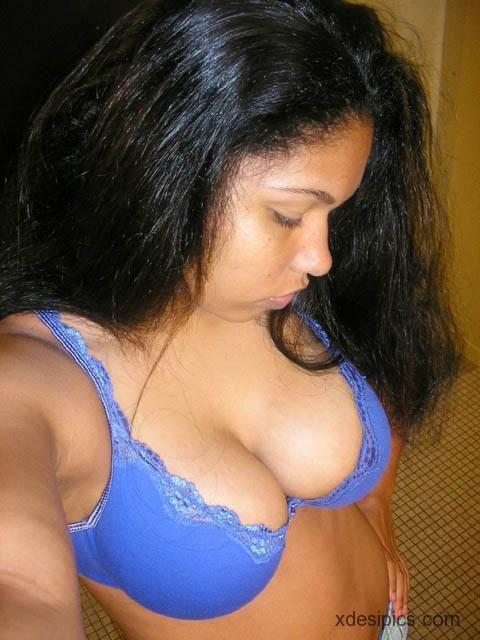Indian Girl Rachna Blue Bra Covered Big Boob  Super Sexy -8174