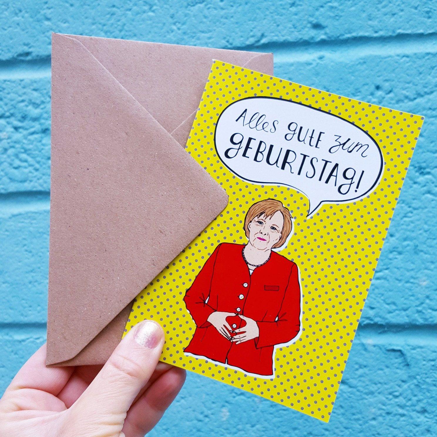 Angela Merkel Birthday Card German Birthday Card Alles Gute Zum