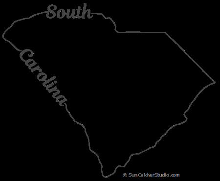 South Carolina Map Outline Printable State Shape Stencil Pattern State Outline Map Outline South Carolina