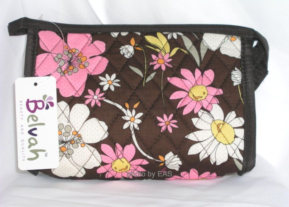 Floral Make Up Bag Belvah Quilted Cotton Cosmetic Bag BG-36-429