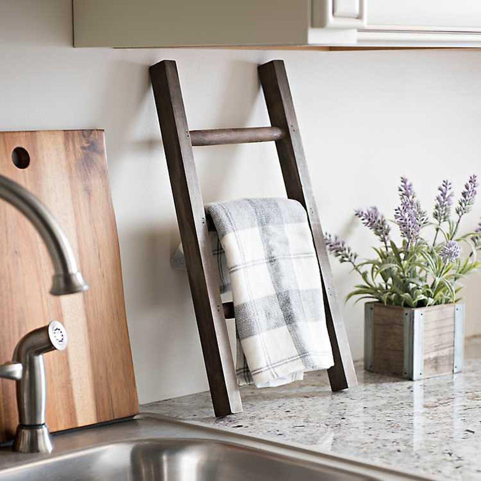 Wooden Towel Rack Kitchen Decor Farmhouse Decor Counter Etsy Home Decor Home Diy Diy Home Decor