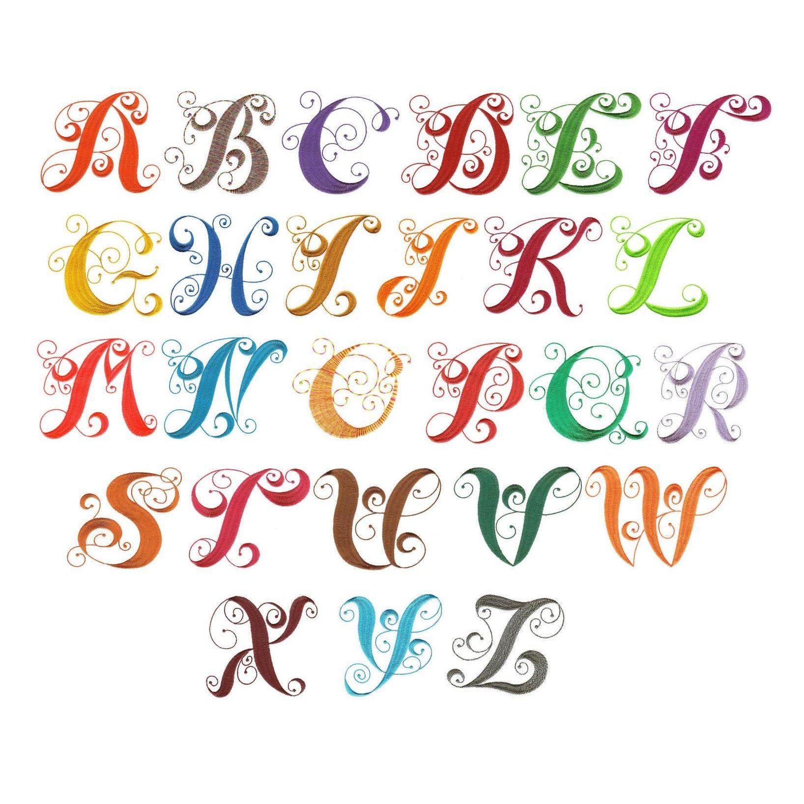 Elegant Curly Monogram Alphabet Monogram Alphabet Machine Embroidery Alphabet Embroidery Monogram Fonts