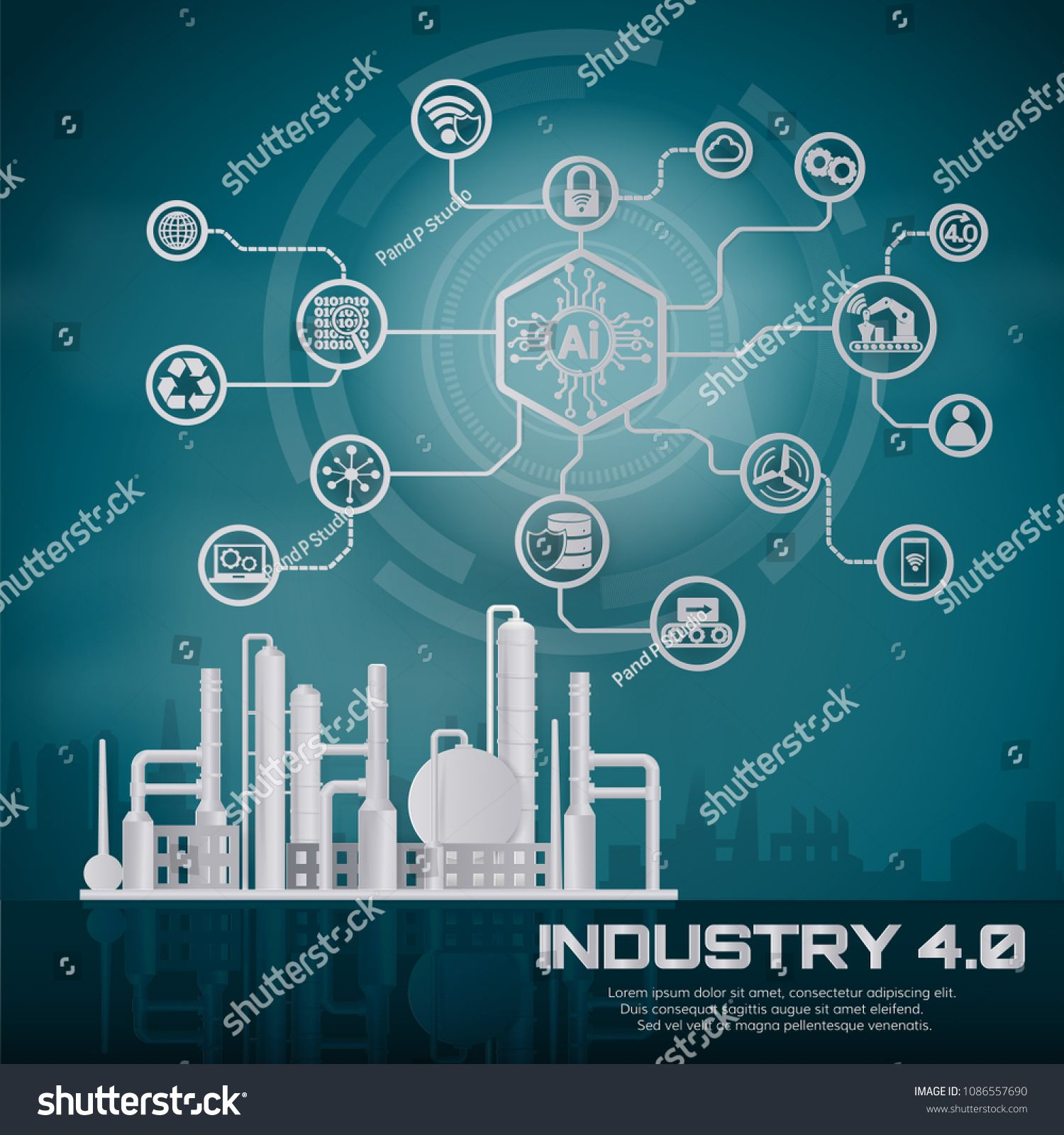 Smart Industry 4 0 Automation And User Interface Concept User