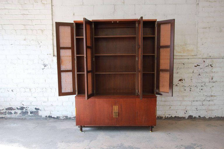 Baker Furniture Mid Century Woven Front Wall Unit Mid Century Furniture Wall Unit Baker Furniture