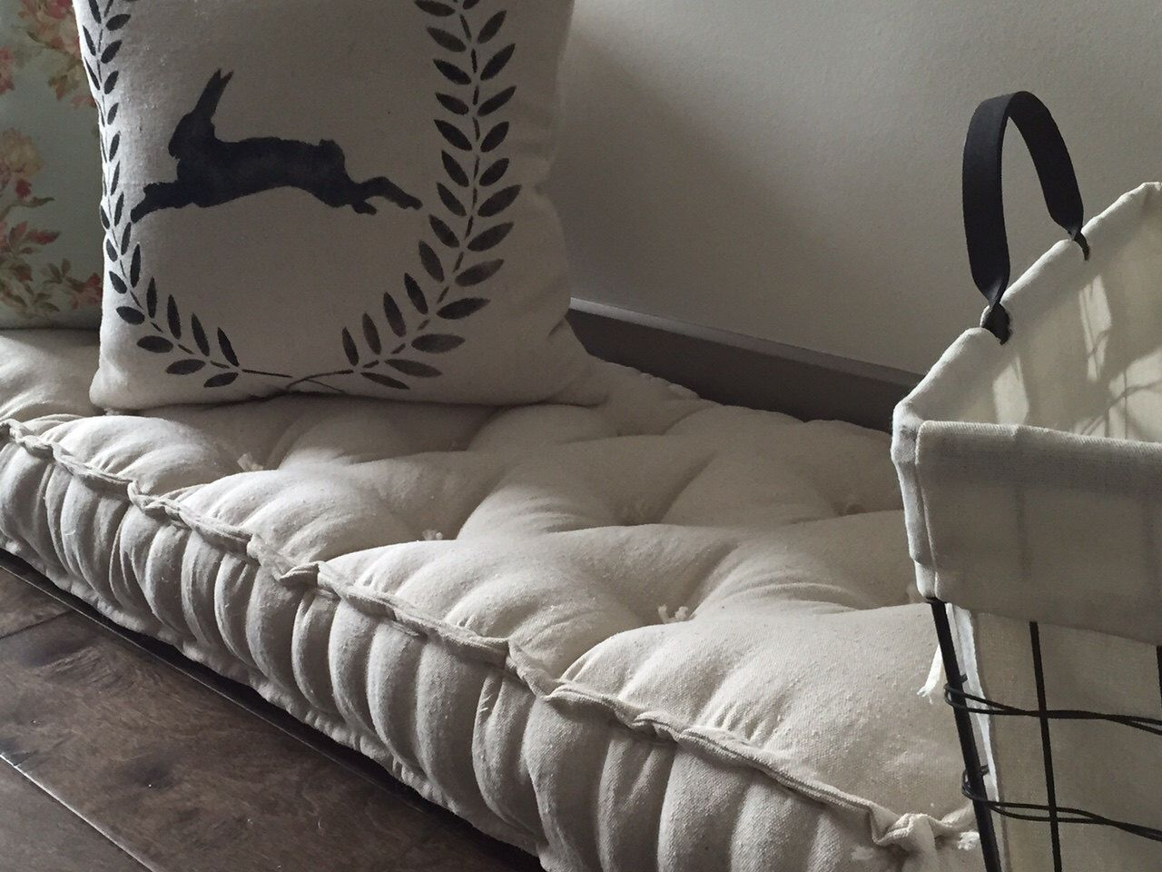 Admirable Farmhouse Floor Cushions The Linen Rabbit Soft Gmtry Best Dining Table And Chair Ideas Images Gmtryco