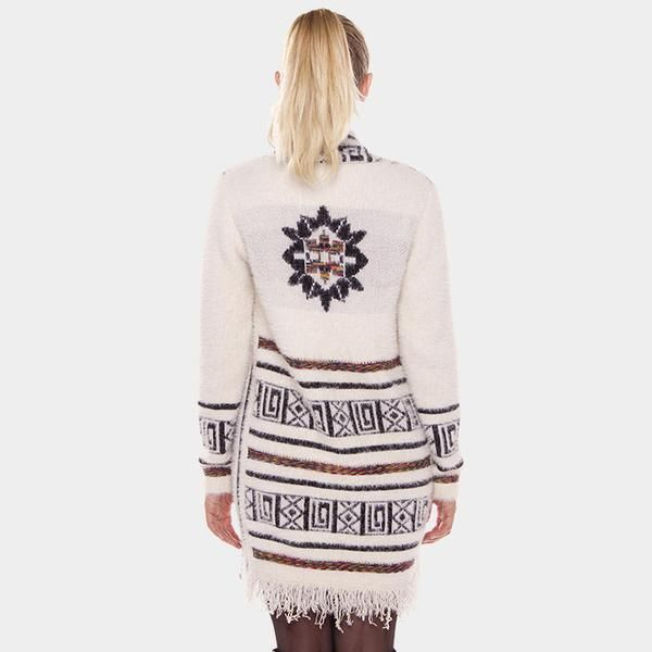 Aztec Long Cardigan Fringe Sweater - Cream - Dempsey & Gazelle  - 1