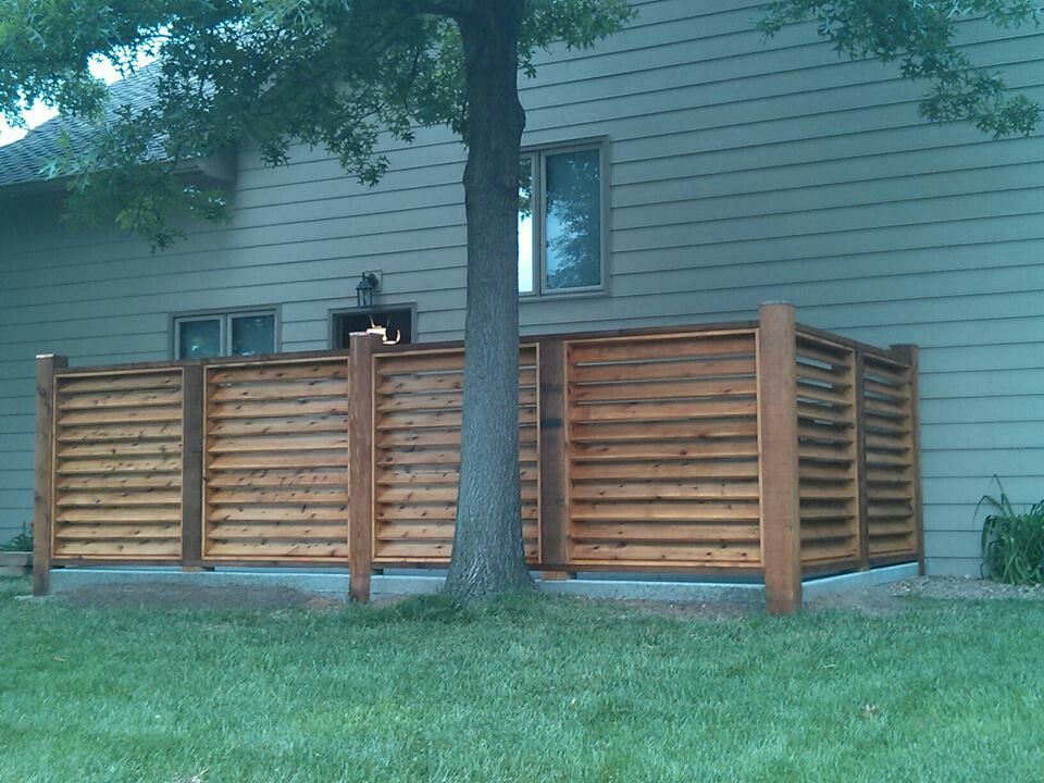 Louvered fence to hide trash can and AC compressor