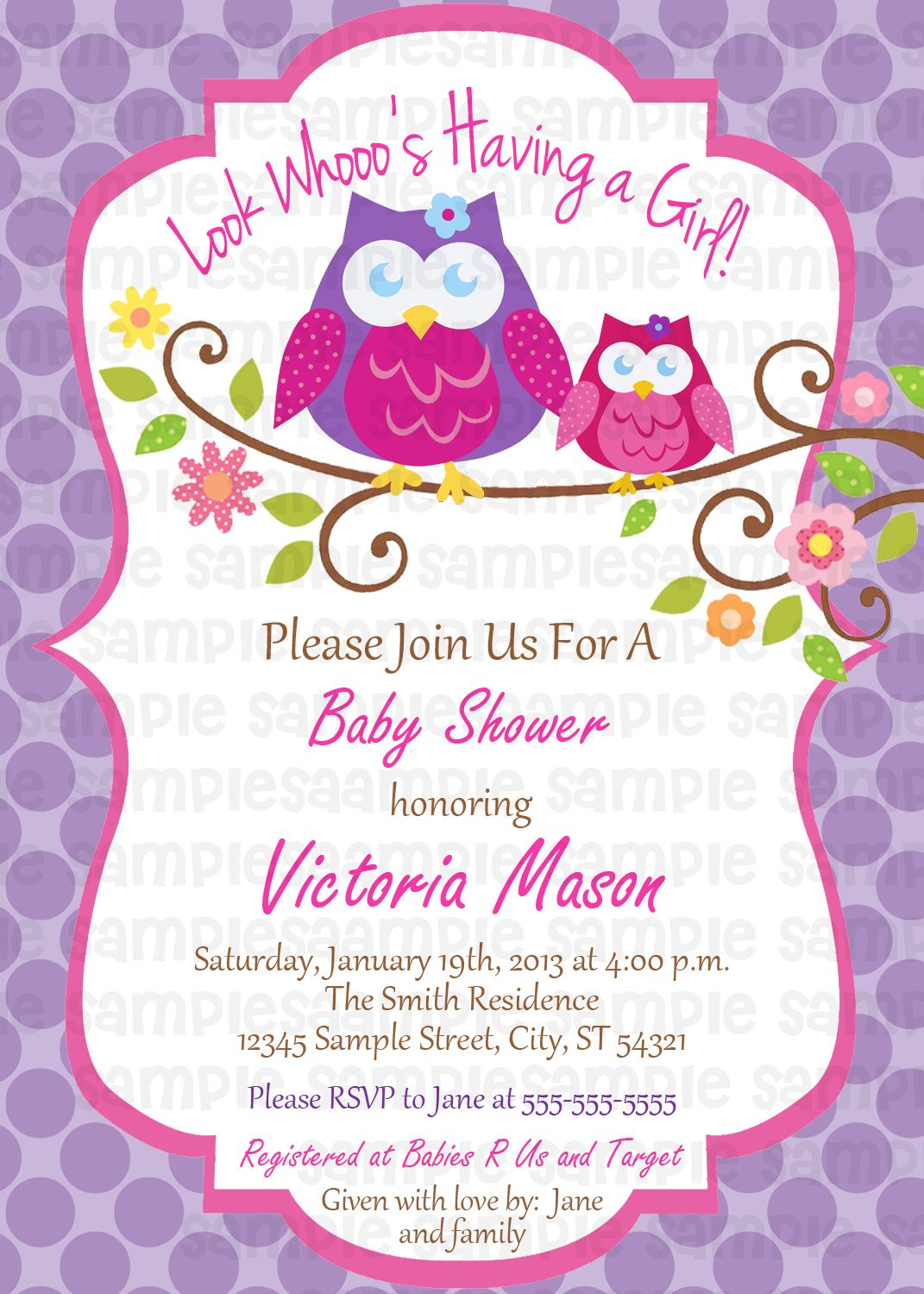 Owl Blossom Baby Shower Digital Invitation $11 | Baby Shower ...
