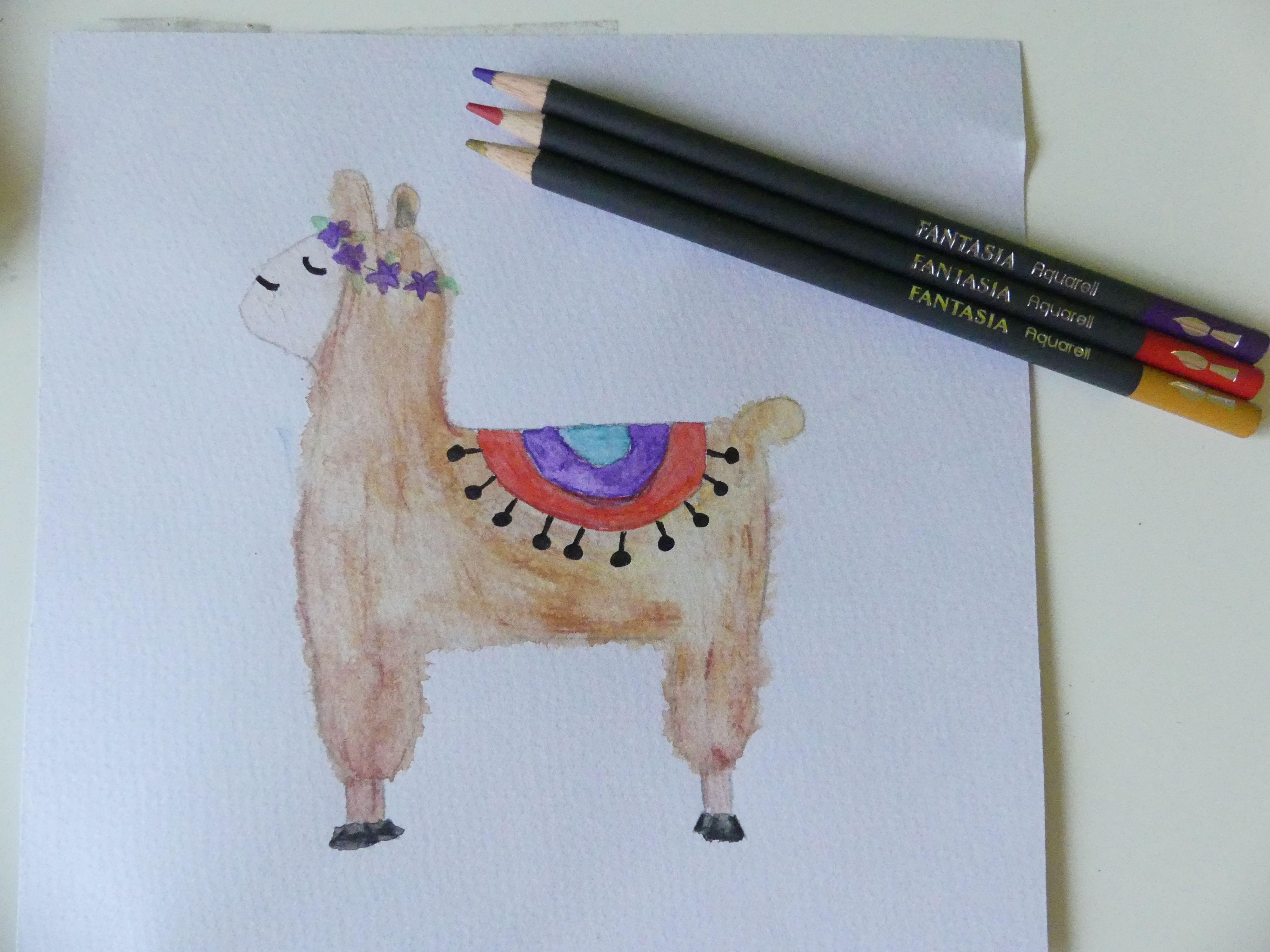 Ein Lama Mit Fellstruktur Gemalt Habe Ich Es Mit