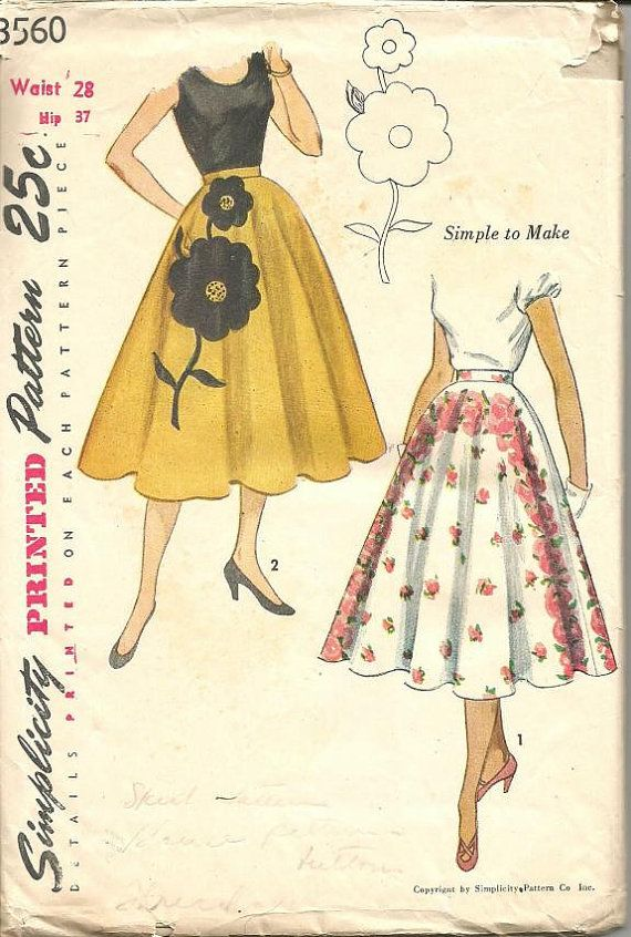 1950s Skirt Pattern Waist 28 Simplicity 3560 Full Skirt by kinseysue