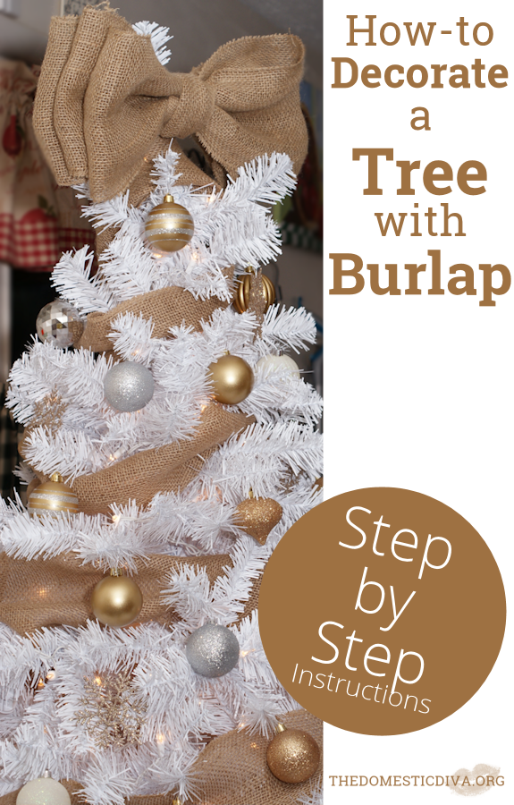 Christmas Tree Bows White.How To Decorate A White Christmas Tree With Burlap Step By