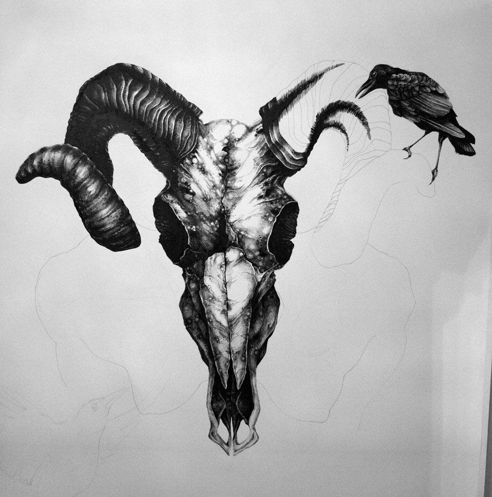 Art by Samantha DeCarlo Aries Ram Skull (Update) Tattoo