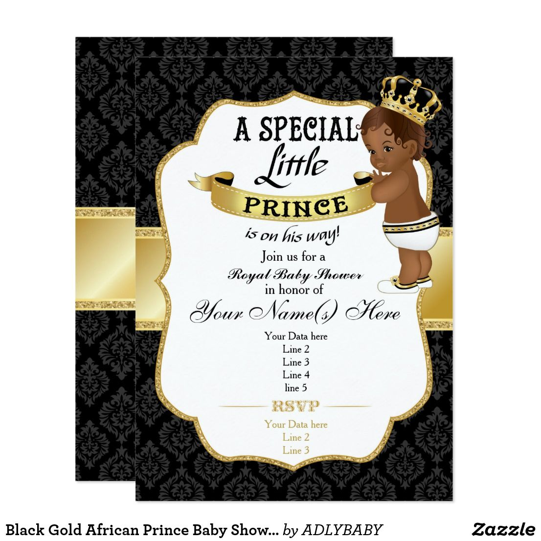African Prince Baby Shower Invitation