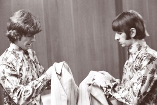George and Ringo get ready to perform 1966