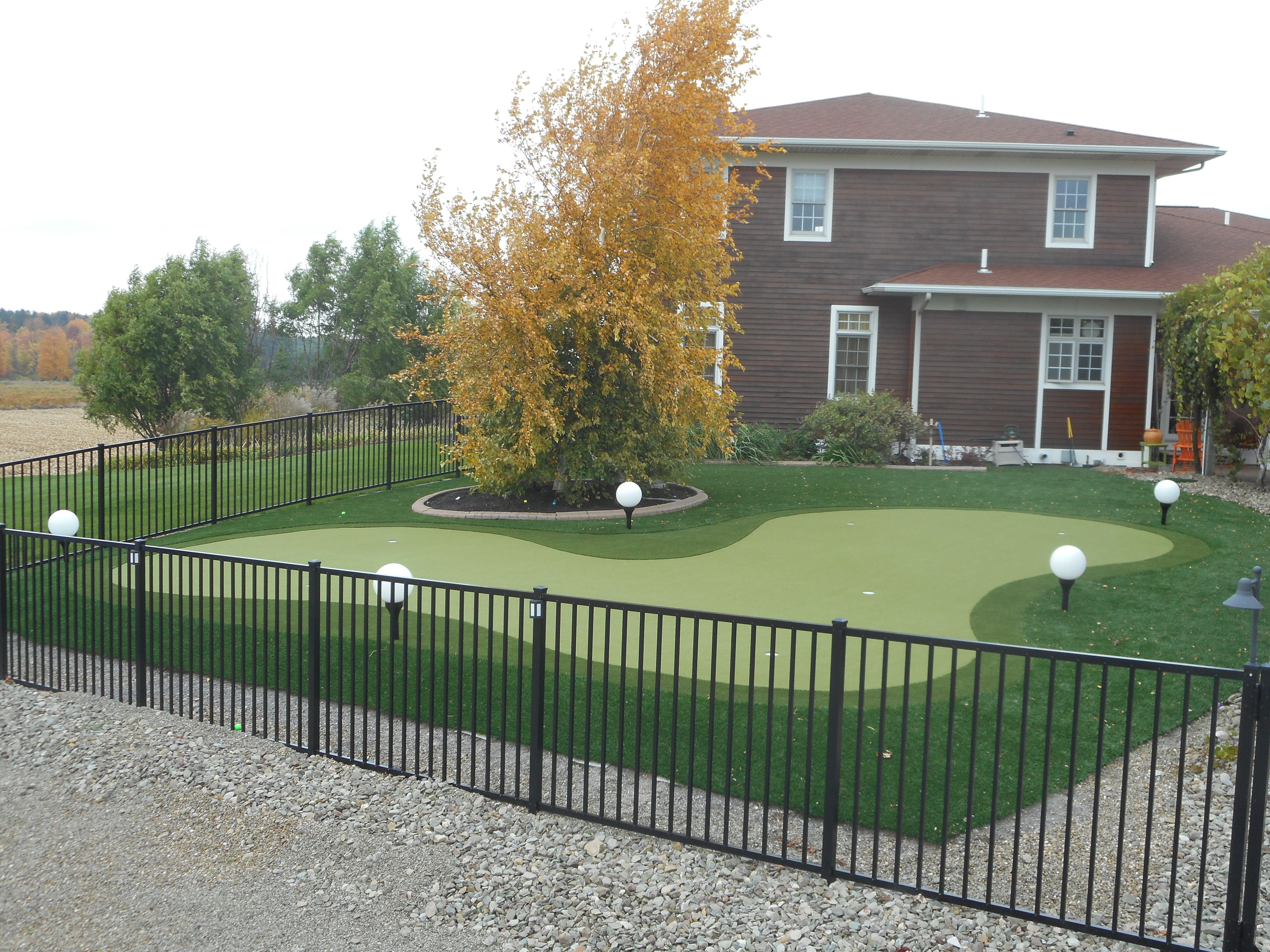 Large Putting Green with custom landscape lights ... on Small Backyard Putting Green id=11491