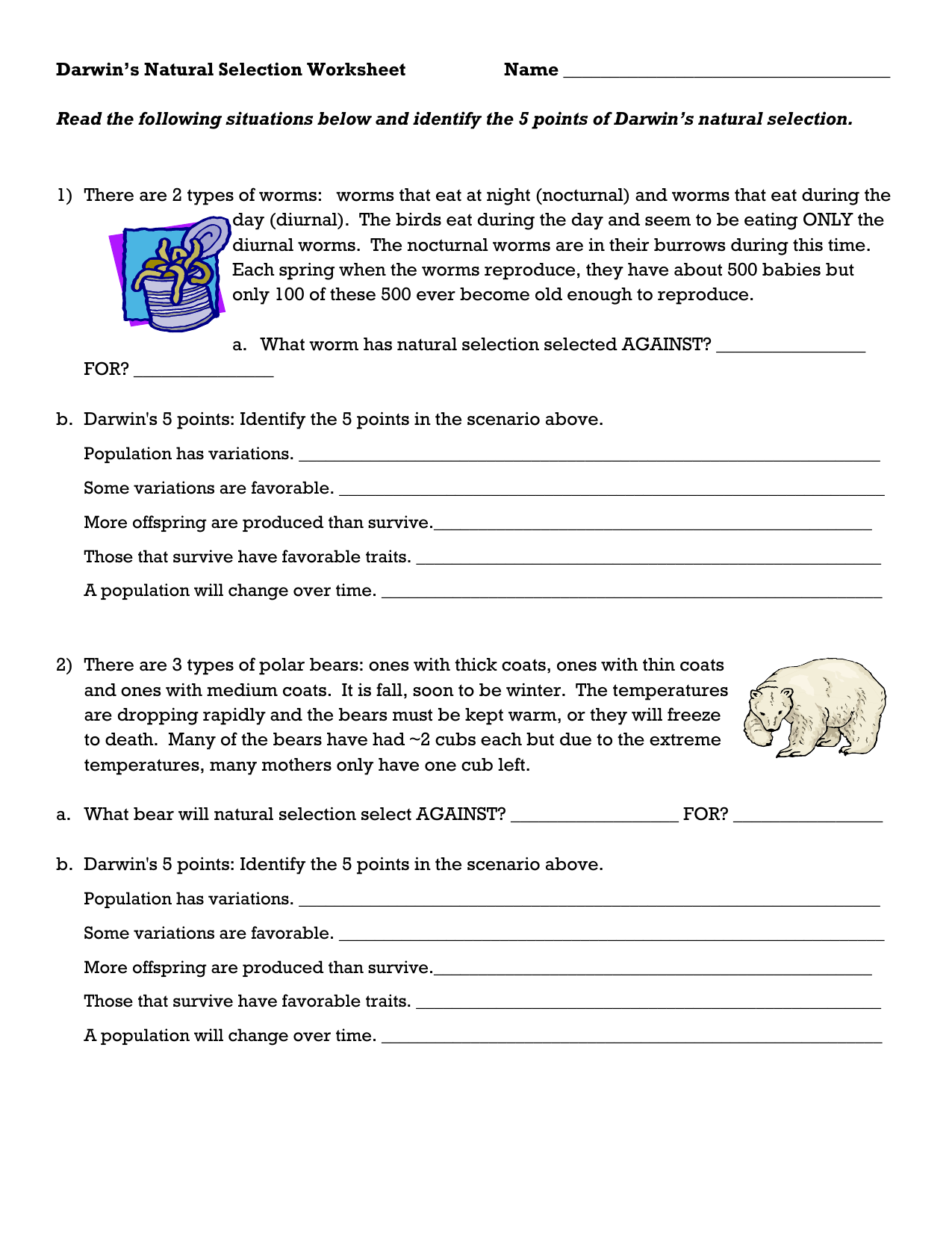 Darwin S Natural Selection Worksheet การศ กษา