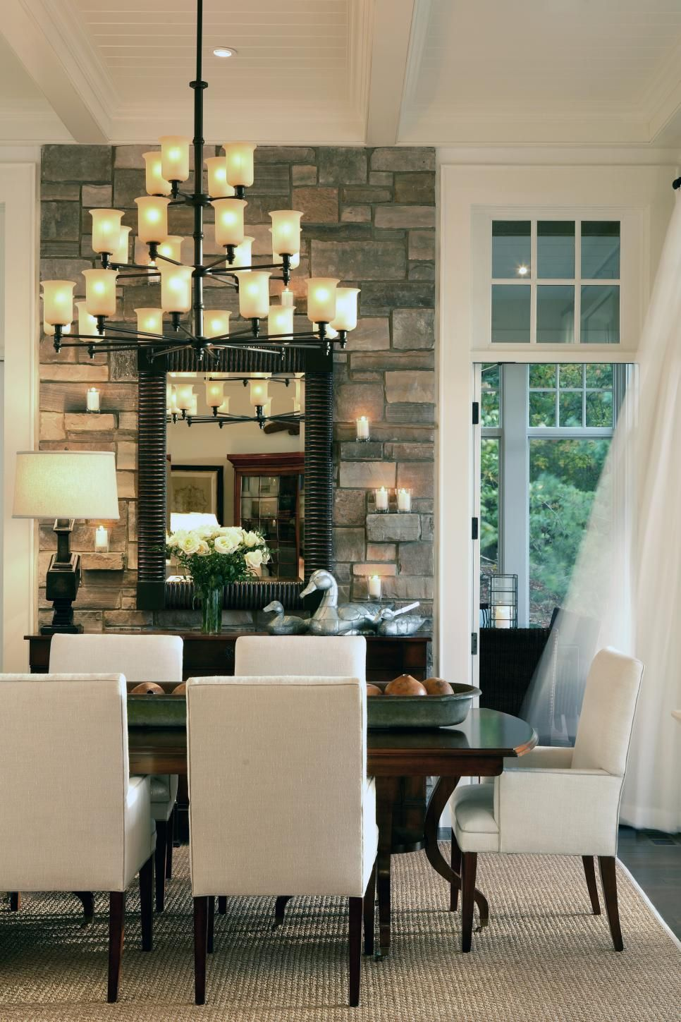 Select stones are pulled forward in the stone accent wall