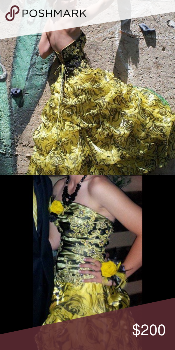 Black and yellow roses prom dresses