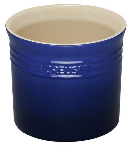 Le Creuset Stoneware Large 2 3 4 Quart Utensil Crock Blue Le