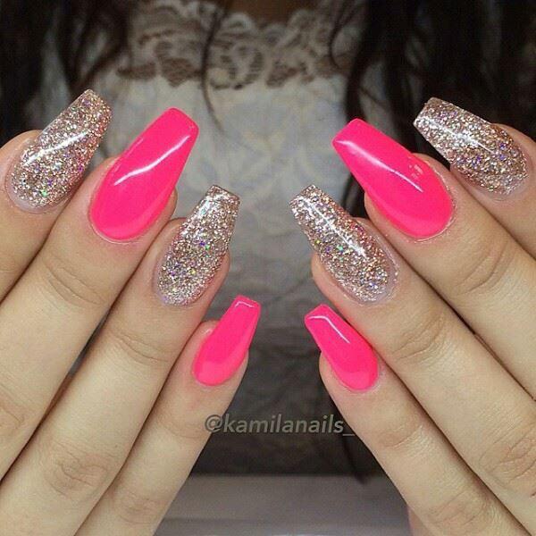 Pink Glitter Nails Pink Glitter Nails Pink Acrylic Nails Glitter Nails Acrylic