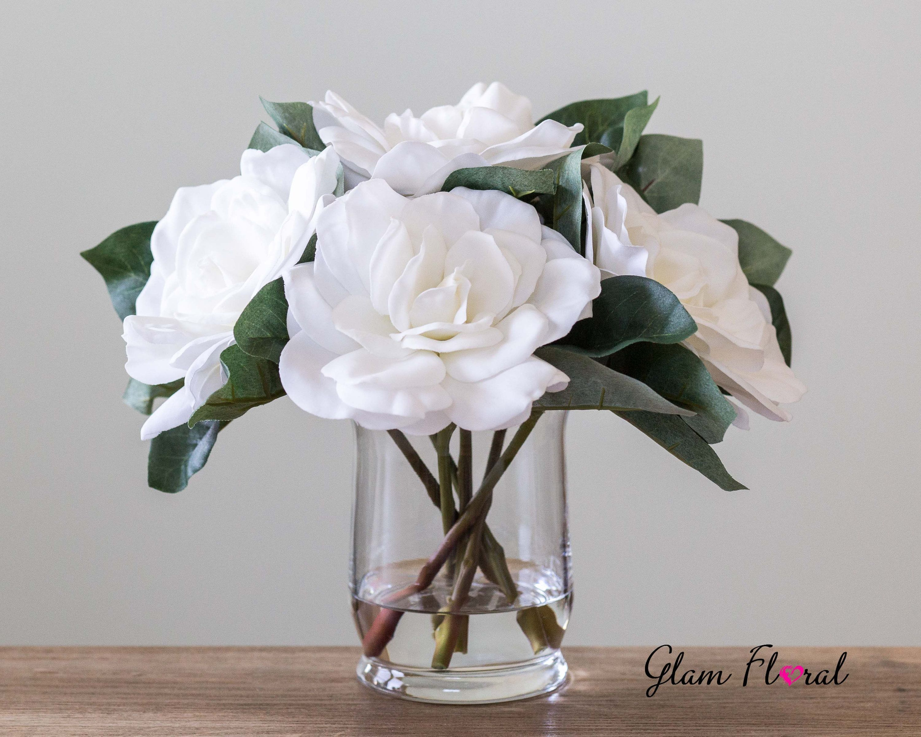 White Real Touch Gardenia Flower Arrangement Gardenias With Etsy Flower Arrangements Clear Glass Vases Rose Flower Arrangements