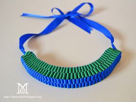 ribbon necklace diy, fashion diy, tutorial, how to, necklace diy, color block necklace, statement necklace diy