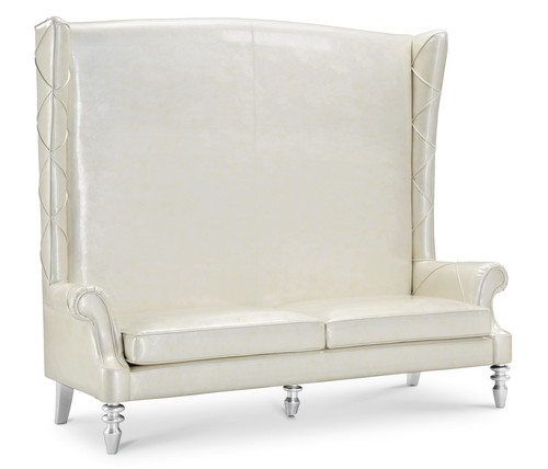 Loveseat  High Back Love Seat Chair Chaise Snow Queen White  Vinyl High Back Loveseat S21