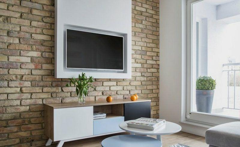 TV Wand selber bauen einfache Anleitung für unerfahrene Handwerker - wohnzimmer ideen fernseher