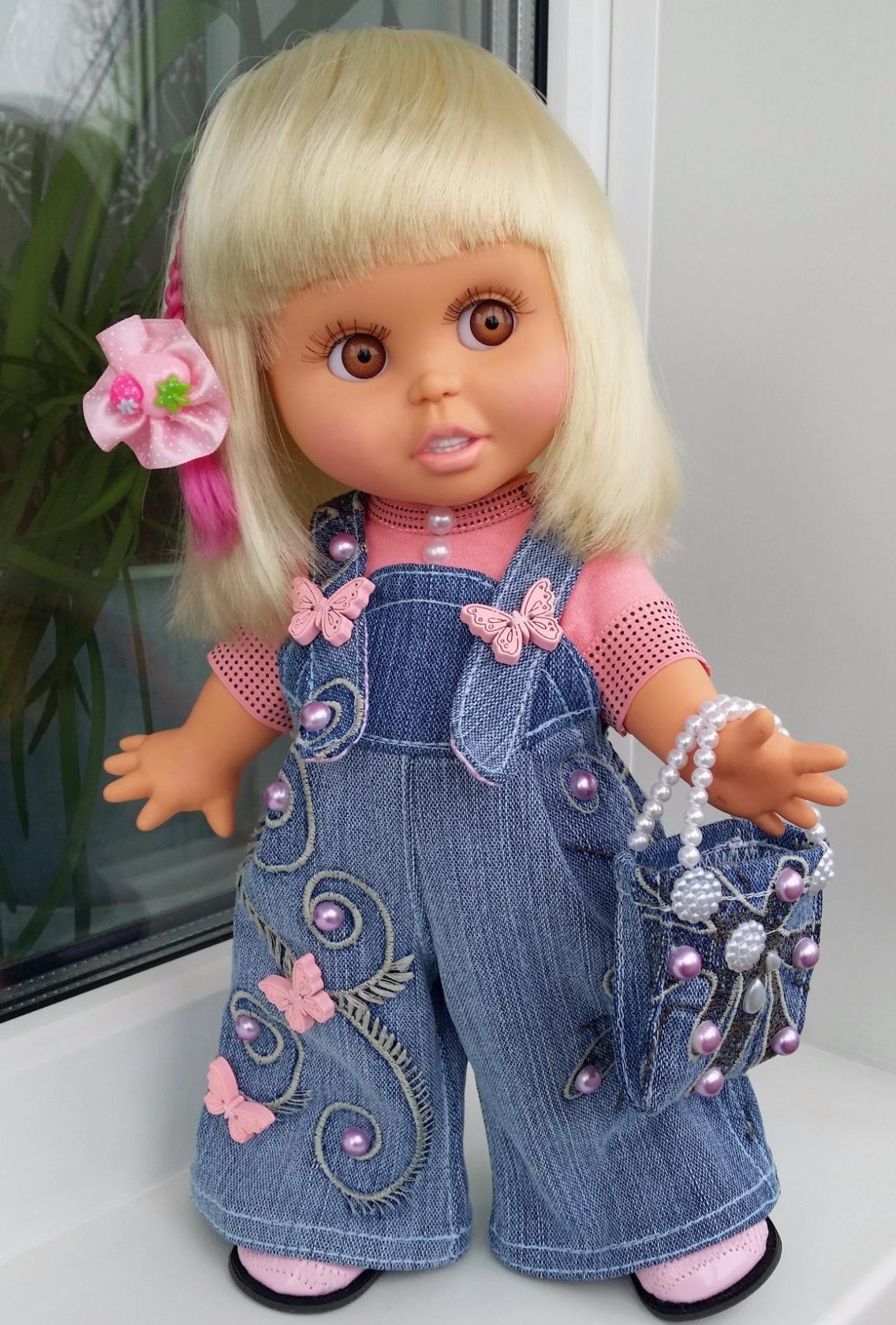 Джинсовый полукомбинезон для куклы, одежда для куклы