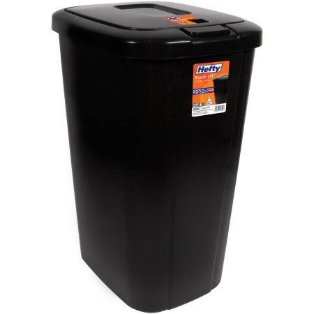 Hefty Touch Lid 13 3 Gallon Trash Can Black Kitchen Trash Cans Trash Can Garbage Can