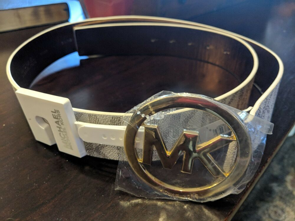 d994f4b9f96d Michael Kors Womens Vanilla White Signature MK Logo Gold Buckle Belt Size L  NWT  fashion