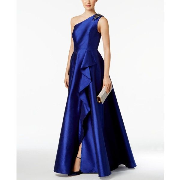 Adrianna Papell Draped One-Shoulder Faille Gown ($219) ❤ liked on ...