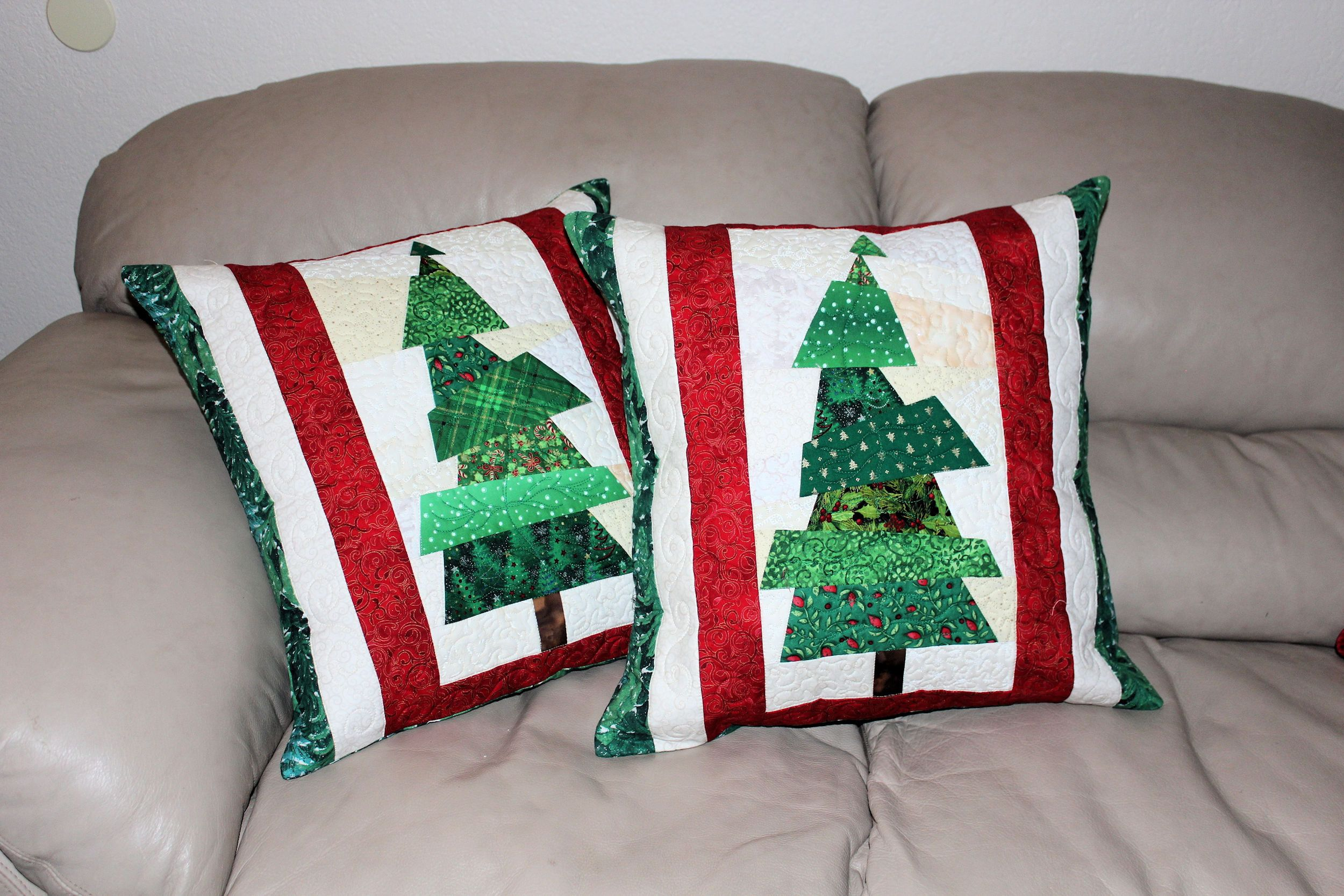 Quilted Christmas Pillows Set Of Two Christmas Tree Quilted Throw Pillows 20 Inch Red And Green Crazy Patchwork Pillows Quiltsy Handmade With Images Christmas Tree Quilt Throw Quilt Patchwork Pillow