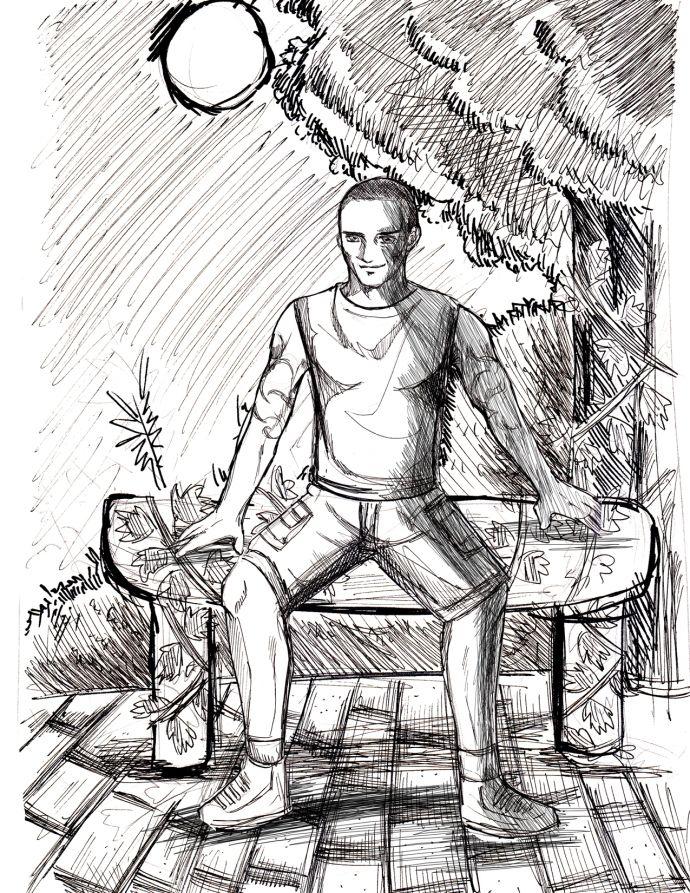 22 Hunter Wood Love story, Story, Male sketch