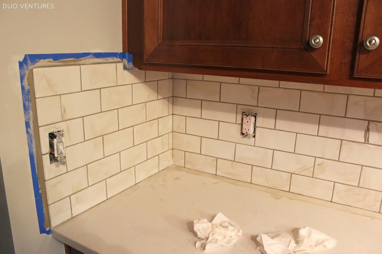 - Kitchen Update: Grouting & Caulking Subway Tile Backsplash