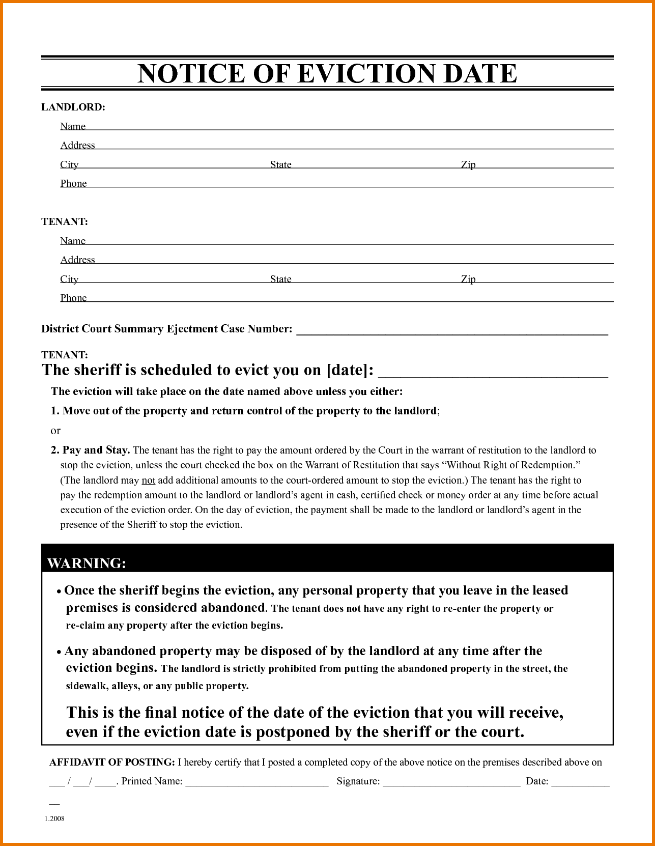 Free Eviction Notice Form Template Letter Format