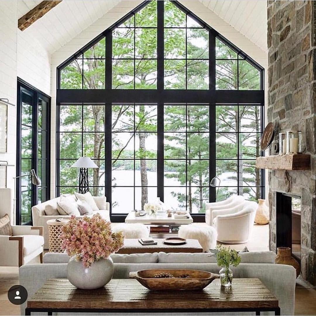 Iron Windows In Great Room Farm House Living Room Modern Lake
