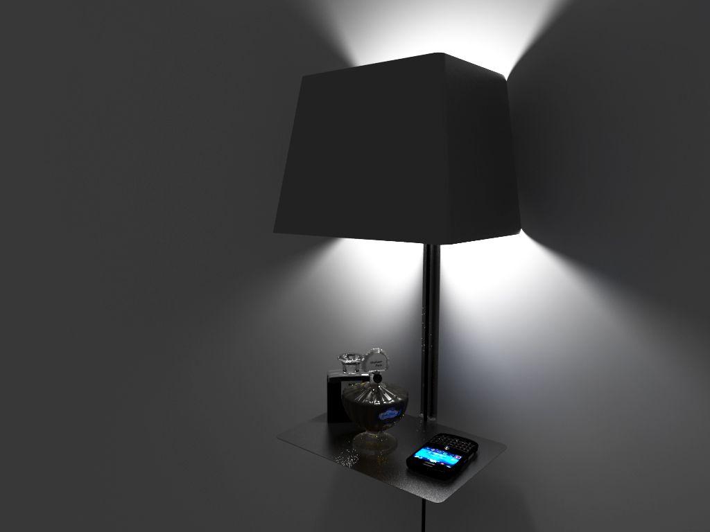 Lámpara con soporte para objetos.