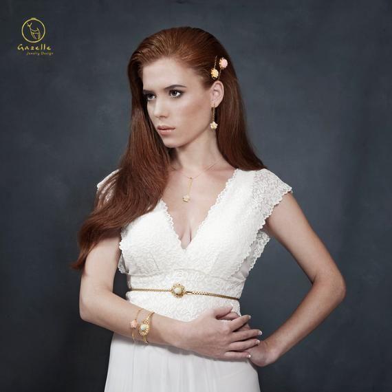 Photo of Floral Wedding Sash, Bridal Belt, Custom Wedding Belts and Sashes, Gold Bridal Belt Sash, Victorian Vintage Style Sash, Wedding Dress Sash