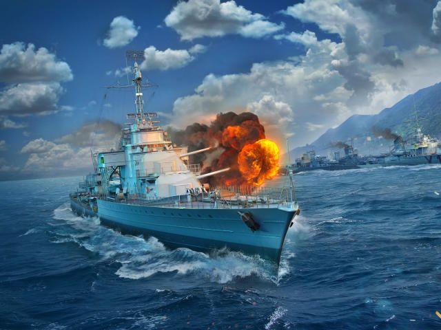 Worldofwarships 2019games Destruction Ocean Clouds Ship World