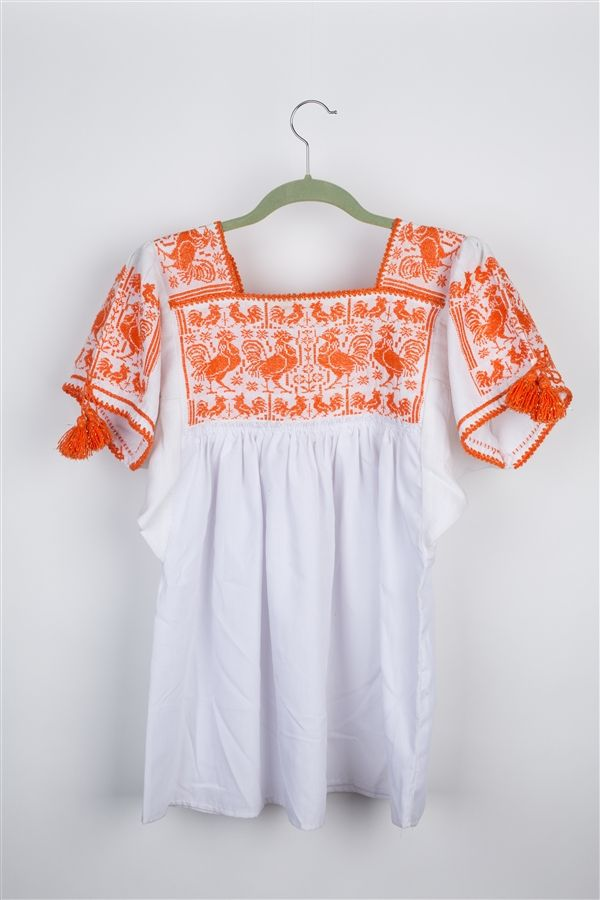 Hand Embroidered Huanengo with a Rooster Motives