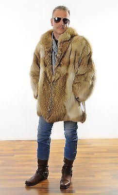 Kojote PELLICCIA fur Coyote coat Herren PELZ Men's MANTEL xrBoCde