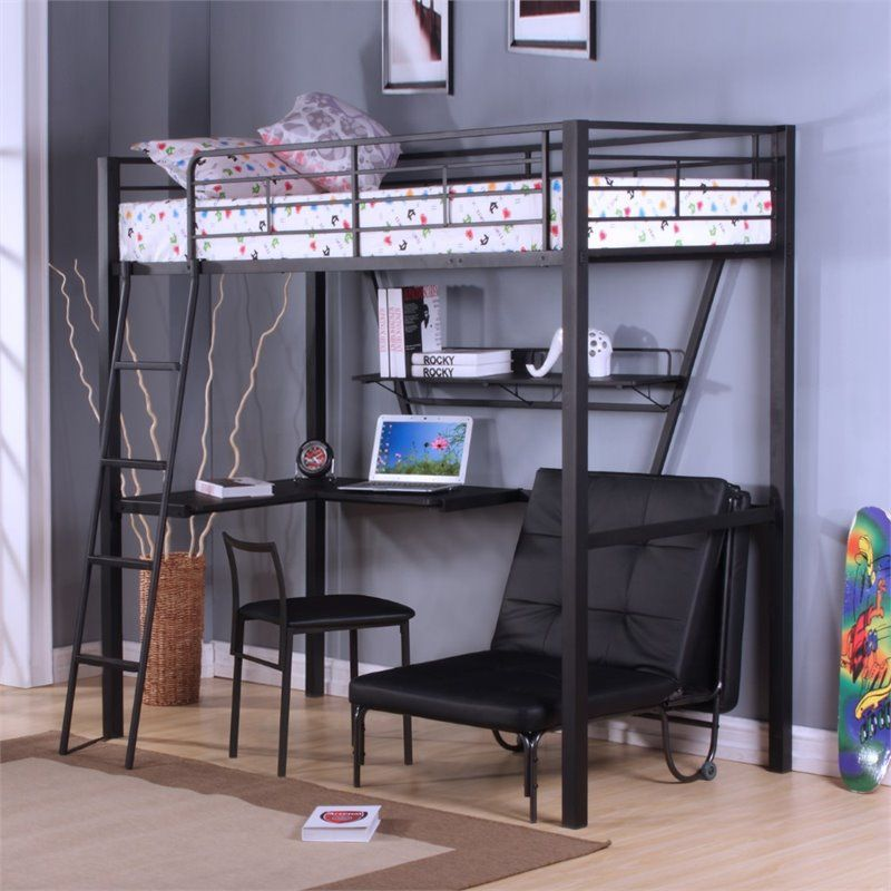 Bowery Hill Loft Bed With Desk In Silver And Black Loft Bed Bed